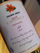 Trader Joe's Reserve 2010 Grenache from Paso Robles